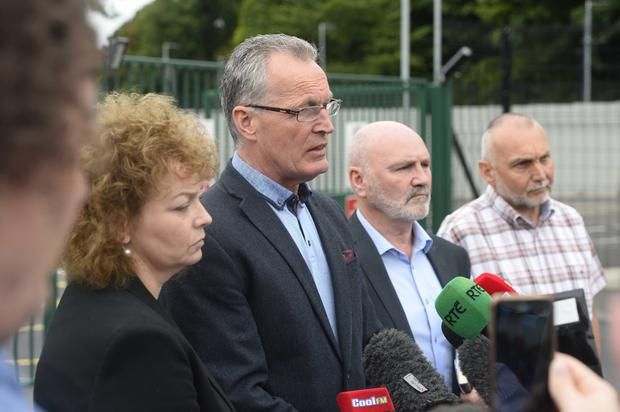 AT POLICE HQ: Sinn Fein delegation speak to the press after last weekend's meeting with Chief Constable. (L-R) Caral Ni Chuilin, Gerry Kelly, Alex Maskey and Sean