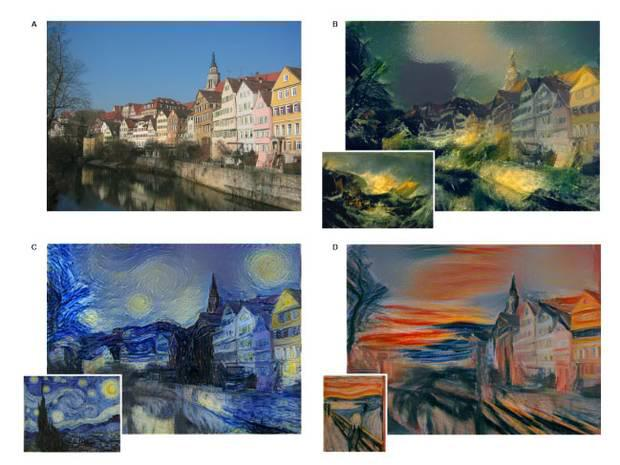 The algorithm takes a photo of a street in Germany and then redraws it in the style of paintings by Van Gogh, Picasso and Munch