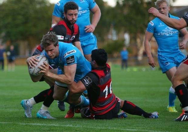 Touching down: Andrew Trimble scores a try for Ulster in the pre-season defeat to Edinburgh last week at Goldenacre