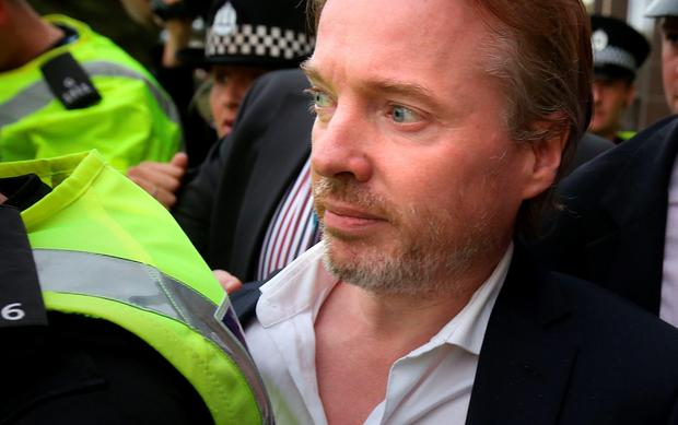 Former owner of Glasgow Rangers, Craig Whyte leaves Glasgow Sheriff Court after he appeared as part of a Police Scotland investigation into Rangers football club. Photo: Andrew Milligan/PA Wire