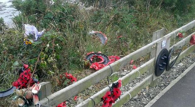 Vandals have torn apart a memorial to victims of the Narrow Water massacre in which 18 soldiers died