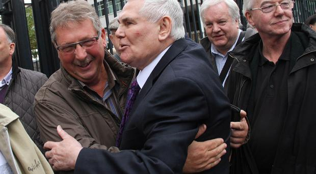 Pastor James McConnell outside Belfast Magistrates Court with the DUP's Sammy Wilson Picture Colm O'Reilly/Presseye