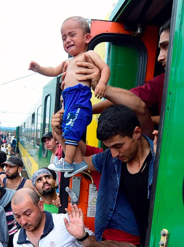 A refugee holds a crying boy out of a local train coming from Budapest and heading to the Austrian border. AFP/Getty Images