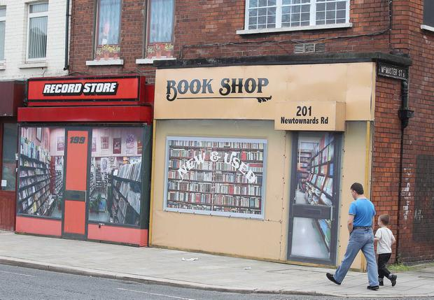 False shop fronts in Belfast — the fall in footfall and high vacancy rates in Northern Ireland have contributed to a fairly downbeat services sector