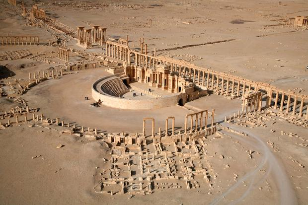(FILES) A picture taken on January 13, 2009 shows an aerial view of a part of the world-renowned ancient city of Palmyra. AFP/Getty Images