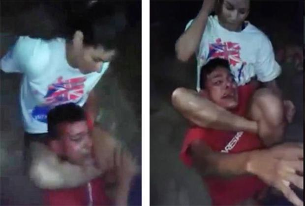 Footage has emerged of the incident on a street in Acailandia in western Brazil