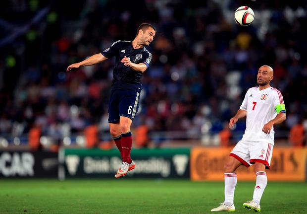 Scotland's Shaun Maloney heads at goal during the UEFA European Championship Qualifying match at the Boris Paichadze Dinamo Arena, Tbilisi.