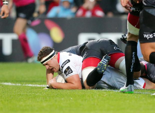 Guinness Pro12: Ulster v Ospreys, Kingspan Stadium, Belfast. Rob Herring goes over to open the score for Ulster