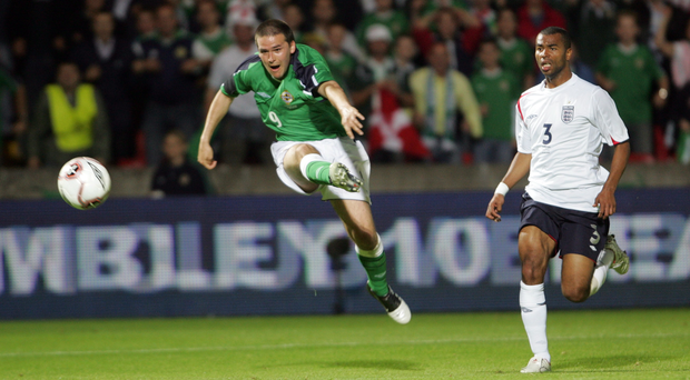 What a night: David Healy scores the goal that beat England