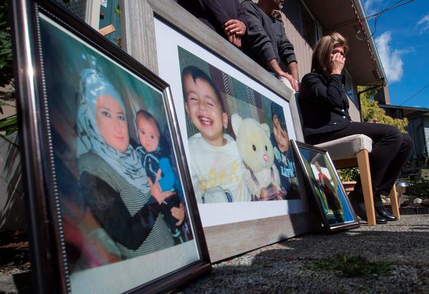 Tima Kurdi, aunt of late brothers Alan and Ghalib Kurdi, speaks to the media outside her home in Coquitlam, British Columbia, Friday, Sept. 4, 2015 (Darryl Dyck/The Canadian Press via AP)