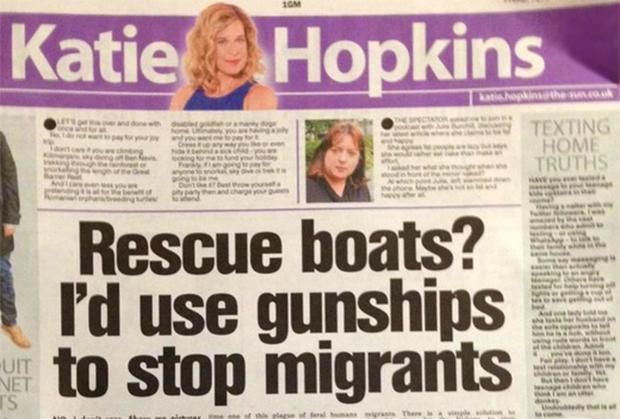 The United Nations said Katie Hopkins' comments on migrants resembled pro-genocide propaganda