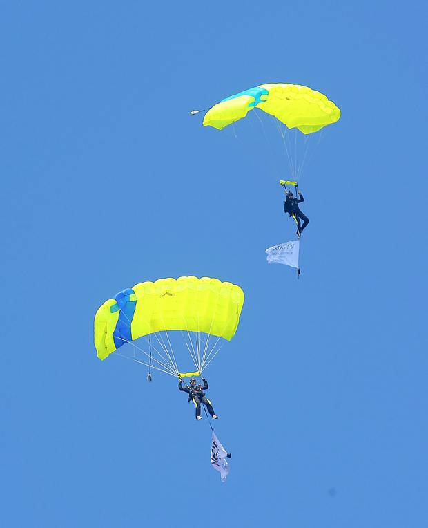 The Wild Geese sky dive team perform at Airwaves Portrush 2015. Photo: Kevin Scott