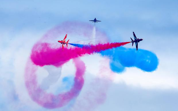 The RAF's Red Arrows and B-17 bomber Sally B made memorable appearances on the final day of the Portrush airshow. Pic: Kevin Scott / Presseye.