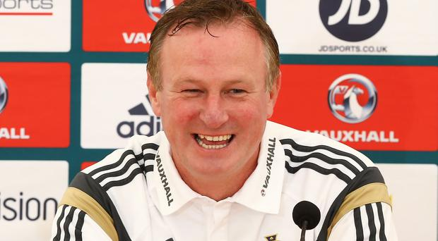 Northern Ireland manager Michael O'Neill during Sunday's press conference at Windsor Park ahead of the Euro 2016 Qualifier against Hungary.