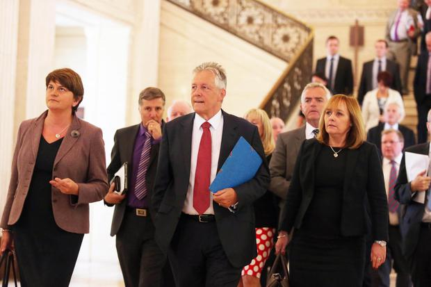 7th September 2015 DUP leader and First Minister talks to the press in the Great Hall at Parliament Buildings, Stormont, regarding the recent crisis in the Northern Ireland Assembly. Picture by Jonathan Porter/PressEye