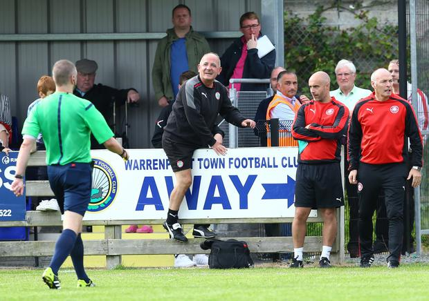 Press Eye - Belfast - Northern Ireland - 29th August 2015 Photo by William Cherry Cliftonville manager Tommy Breslin is sent off to the stands by referee Raymond Crangle during Sundays Danske Bank Premiership game against Warrenpoint at Milltown.