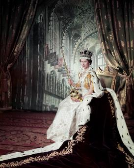 The Queen on Coronation Day, 2 June 1953, part of the Long to Reign Over Us exhibition.