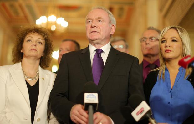 Deputy First Minister and Sinn Fein Martin McGuinness along with party colleagues speaks to the press in the Great Hall at Parliament Buildings, Stormont in east Belfast, as political talks continue regarding the future of the Northern Ireland Assembly. Picture by Jonathan Porter/PressEye