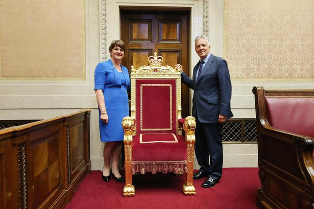 First Minister Peter Robinson and Finance Minister Arlene Foster at an event in Parliament Buildings, Stormont on Wednesday evening. Photo: Kelvin Boyes / Press Eye