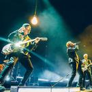 Handout photo of (left to right) Larry Mullen Jr, The Edge, Bono and Adam Clayton on stage during the U2 concert at Turin's Pala Alpitour Arena as the band kicks off their European leg of their Innocence and Experience tour.