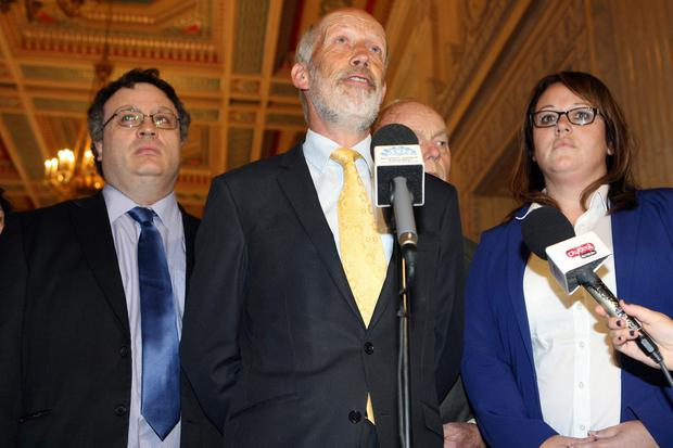 Alliance Party leader David Ford and his party hold a press conference in the Great Hall at Stormont. Photo: Pacemaker