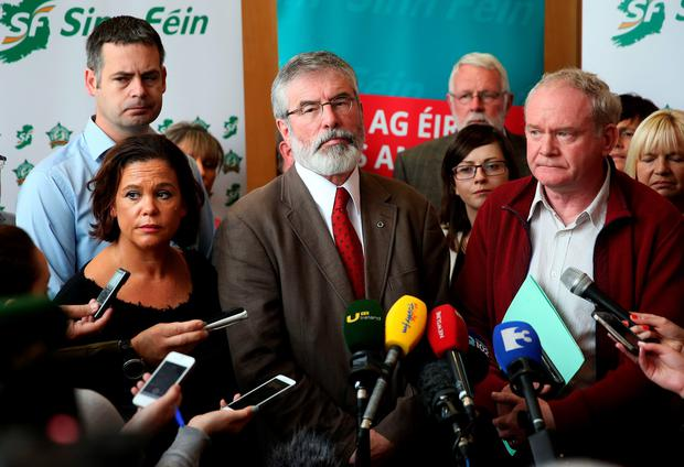 Deputy leader Sinn Fein Mary Lou McDonald, Sinn Fein Leader Gerry Adams and Northern Ireland deputy first minister Martin McGuinness at the meeting of Sinn Fein's Dail team, Assembly team and European Parliament team, at the City North Hotel, Co. Meath. Photo: Brian Lawless/PA