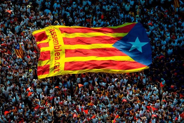 People march during a Catalan Pro-Independence demonstration celebrating the Catalan National Day on September 11, 2015 in Barcelona, Spain. The Spanish northeastern autonomous region celebrates its National Day on September 11 which coincides with the kick off of the electoral campaing. Political Parties for and against independence of Catalonia will hold a regional elections on September 27. (Photo by David Ramos/Getty Images)