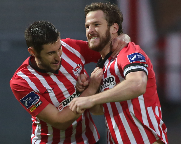 All square: Derry City's Ryan McBride celebrates his goal with Aaron Barry in their FAI Cup quarter-final at the Brandywell