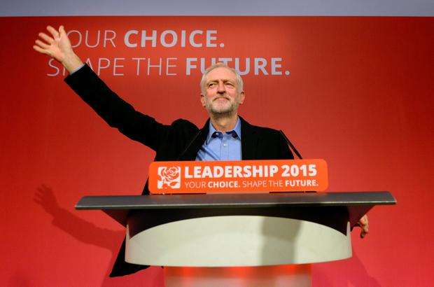 Jeremy Corbyn takes to the stage after he was announced as the Labour Party's new leader at a special conference at the QEII Centre in London. Pic Stefan Rousseau/PA Wire