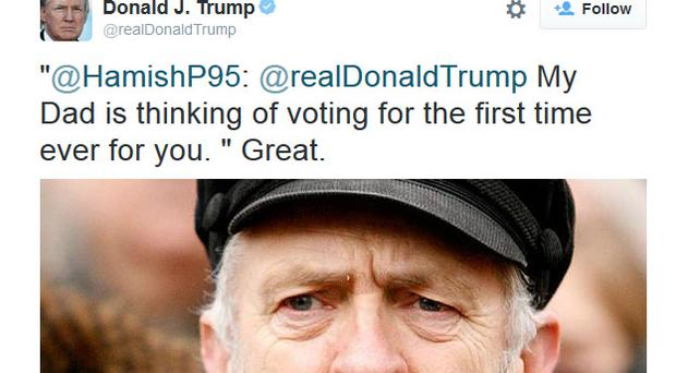 The tweet that Donald Trump responded to was in fact a picture of Jeremy Corbyn