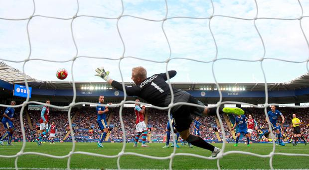 Aston Villa's Jack Grealish (third right) scores their first goal of the game during the Barclays Premier League match at the King Power Stadium, Leicester. Nick Potts/PA Wire.