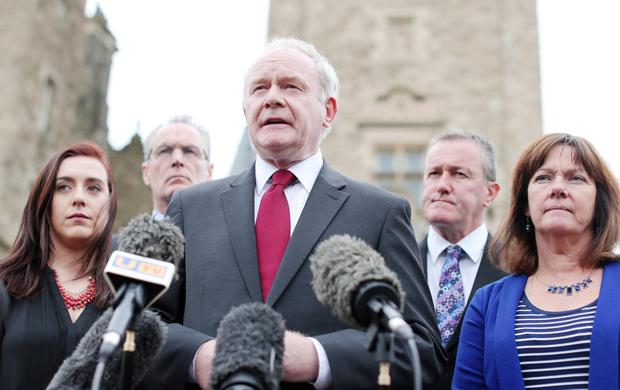 Martin McGuinness addresses the media at Stormont Castle. Pic: Jonathan Porter/PressEye