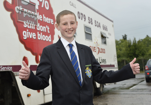Cancer battler Josh Martin at the blood donation session at Bangor Elim Church yesterday as scores of donors turned up to give blood