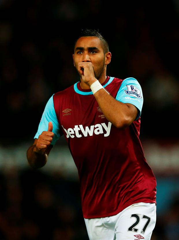 Dimitri Payet celebrates scoring his second goal of the night at the Boleyn Ground