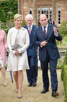 The Countess of Wessex pictured with Ben Wallace MP before meeting guests at Hillsborough Castle today Monday - 14th September 2015 - during a Garden Party in the grounds. Photo by Simon Graham/Harrison Photography