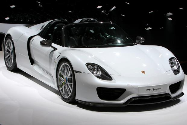 A Porsche 918 Spyder car is presented at the 66th IAA auto show in Frankfurt am Main, western Germany, on September 15, 2015. Hundreds of thousands of visitors are expected to crowd into the massive exhibition halls of Frankfurt's sprawling trade fair grounds from September 19-27 to catch a glimpse of the latest models and high tech innovations. AFP PHOTO / DANIEL ROLANDDANIEL ROLAND/AFP/Getty Images