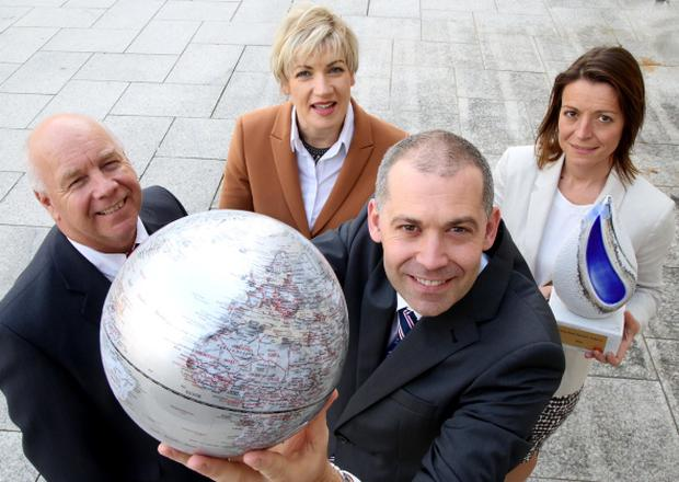 Ian Murphy, Invest NI; Margaret Hearty, IntertradeIreland; Nigel Walsh, Ulster Bank, and Sarah Little, Belfast Telegraph, remind businesses to enter the Ulster Bank Business Achievers Awards