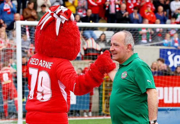 Cliftonville Manager Tommy Breslin at Cliftonville v Crusaders at Solitude on April 26 2014. Photo: Kevin Scott / Presseye