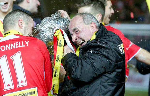 Cliftonville's Tommy Breslin as they win the Wasp Solutions Cup Final at Windsor Park in Belfast. January 24 2015. Picture: Kevin Scott / Presseye