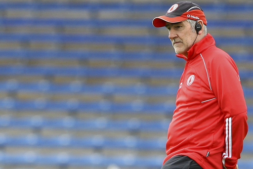 Staying put: Mickey Harte won a vote among clubs by a resounding 52-3 to be given another two years at the helm of Tyrone