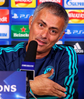 COBHAM, ENGLAND - SEPTEMBER 15: Chelsea manager Jose Mourinho chats to the media during a Chelsea Press Conference ahead of their Champions League fixture against Maccabi Tel Aviv on September 15, 2015 in Cobham, England. (Photo by Charlie Crowhurst/Getty Images) ***BESTPIX***