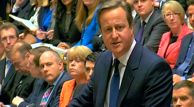 Prime Minister David Cameron speaks during Prime Minister's Questions in the House of Commons. Pic: PA