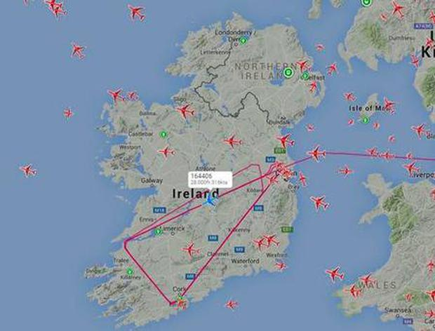 US aircraft made several trips across Ireland on Tuesday Credit: Plane Finder