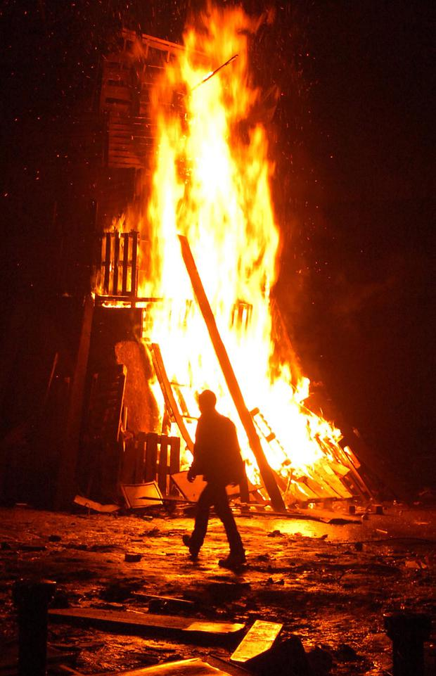 A bonfire burns in the Fountain estate, traditionally one of the largest in the city each year Photo: Martin Keown