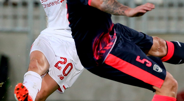 On target: Adam Lallana opens the scoring with a superb 65th-minute strike