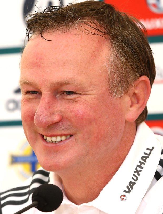 Press Eye - Belfast - Northern Ireland - 06th September 2015 Photo by William Cherry Northern Ireland manager Michael O'Neill during Sundays press conference at Windsor Park ahead of Monday nights Euro 2016 Qualifier against Hungary.