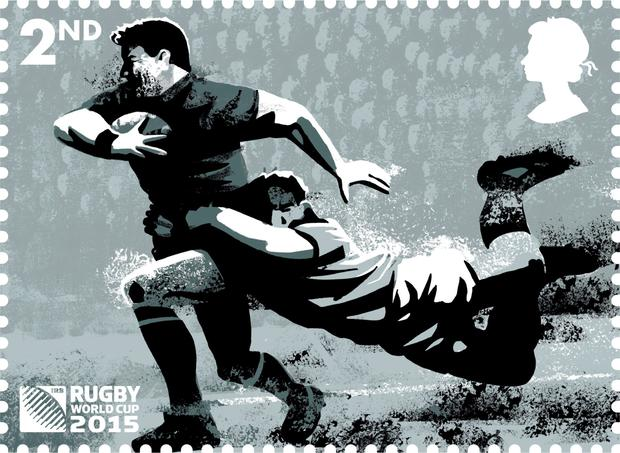One of a selection of eight stamps which have been launched to mark the start of the Rugby World Cup 2015.