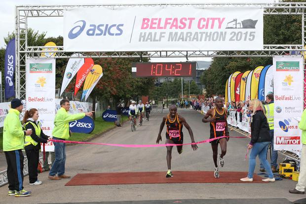 Dan Tanui (left) finished second behind Gideon Kimosop (right)