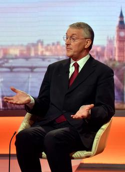 BBC handout photo of shadow foreign secretary Hilary Benn appearing on the BBC1 current affairs programme, The Andrew Marr Show. Jeff Overs/BBC/PA Wire.