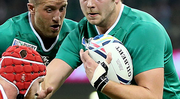 Brute strength: Iain Henderson was a powerhouse throughout
